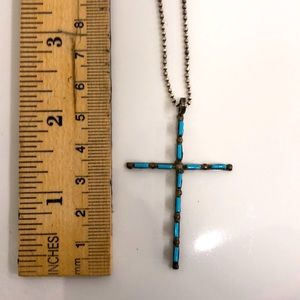 Silver and turquoise cross on long sterling chain